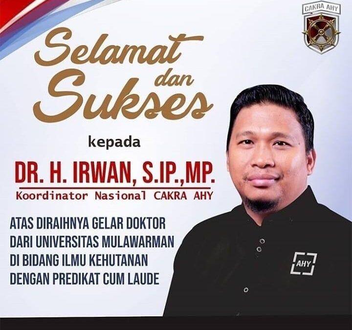 Selamat dan sukses atas gelar doktor yang diraih bang H.Irwan